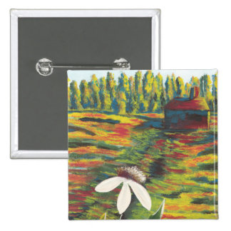 Painting of Flower Meadow Shack Pin