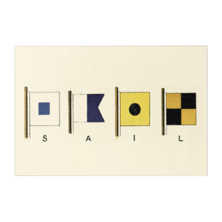 Painting of Four Flags with Sail Written Beneath Acrylic Wall Art