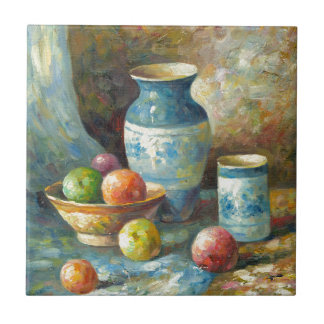 Painting Of Fruit And Pottery Vessels Ceramic Tiles