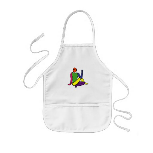 Painting of half lord of the fishes yoga pose. aprons