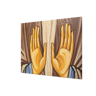 Painting Of Hands In A Church Canvas Print
