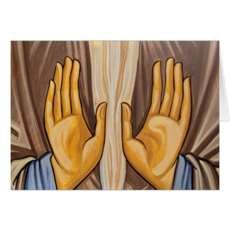 Painting Of Hands In A Church Card