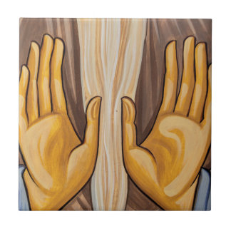Painting Of Hands In A Church Ceramic Tile