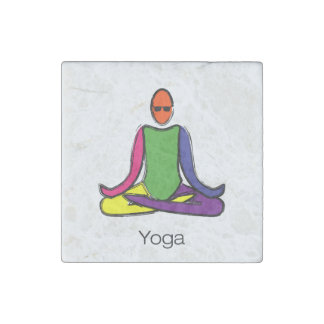 Painting of lotus yoga pose with yoga text. stone magnet