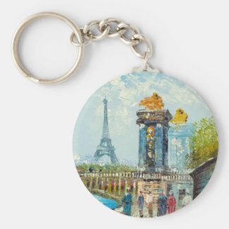 Painting Of Paris Eiffel Tower Scene Basic Round Button Key Ring