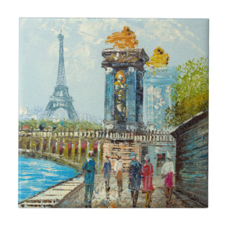 Painting Of Paris Eiffel Tower Scene Small Square Tile