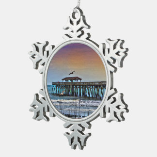 Painting of Pier at Myrtle Beach - Snowflake Ornam Pewter Snowflake Decoration