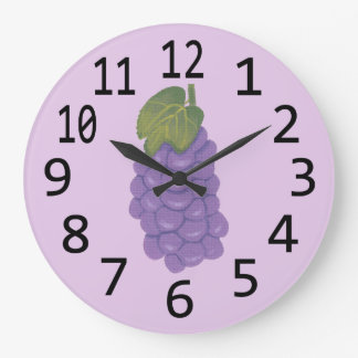 Painting of Purple Grapes on Lavender Clocks