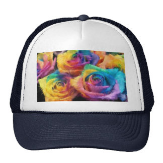 Painting of Rainbow Roses Hat