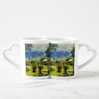 Painting of resort lovers mug set