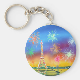 Painting of the Eiffel Tower in Paris Basic Round Button Key Ring