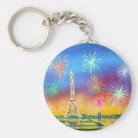 Painting of the Eiffel Tower in Paris Keychains