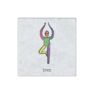 Painting of tree yoga pose with Sanskrit text. Stone Magnet
