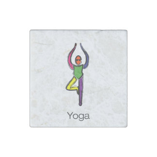 Painting of tree yoga pose with yoga text. stone magnet
