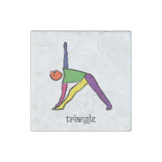 Painting of triangle yoga pose with Sanskrit text. Stone Magnet