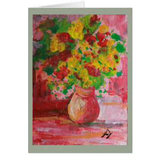 Painting of Vase of Yellow Flowers Greeting Card