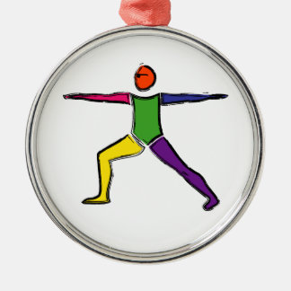 Painting of Warrior 2 yoga pose. Metal Ornament