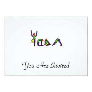 Painting of yoga poses spelling YOGA. 13 Cm X 18 Cm Invitation Card