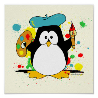 Painting Penguin Poster