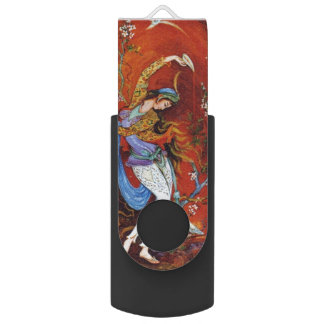 Painting Persian Girl Pouring wine from jug Swivel USB 2.0 Flash Drive