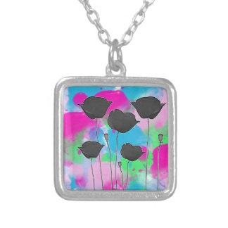 painting poppy square pendant necklace