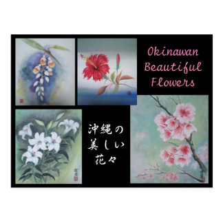 Painting Postcard Okinawan Beautiful Flowers