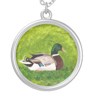 Painting Sitting Mallard in Grass Necklace