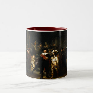 Painting The Night Watch by Rembrandt van Rijn Two-Tone Coffee Mug