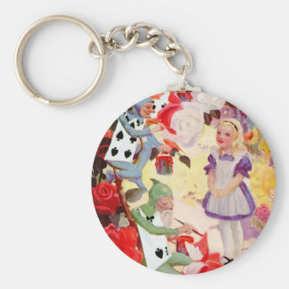 PAINTING THE QUEEN OF HEART'S ROSES RED KEY RING