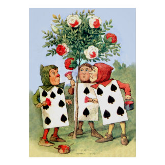 Painting the Queen's Roses in Wonderland Poster