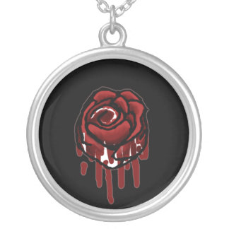 painting the roses red round pendant necklace