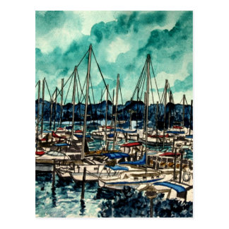 paintings of sailboats sailor sailing art postcard