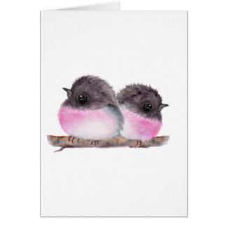 Pair of baby birds pink robins watercolor painting cards