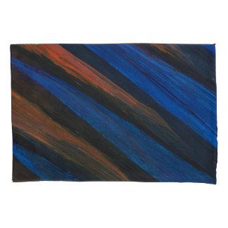 Pair of Blue, Black, and Orange, Pillow Cases. Pillowcase
