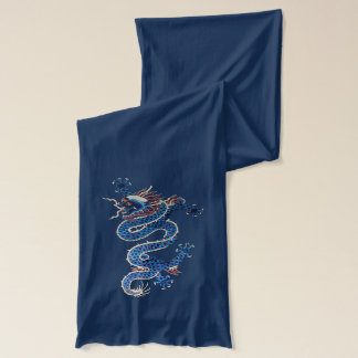 Pair of blue Chinese dragons Scarf