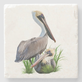 Pair of Brown Pelicans Customizable Stone Coaster
