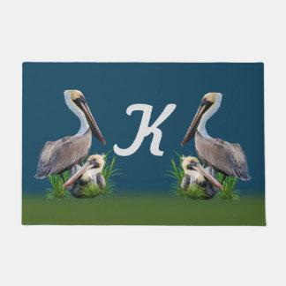 Pair of Brown Pelicans, Monogram Doormat