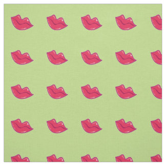 Pair of Cherry Red Lips Tiled Pattern Fabric