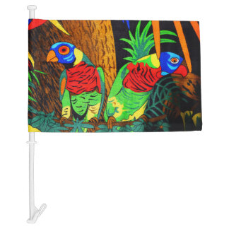 Pair of Colorful Parakeets Car Flag
