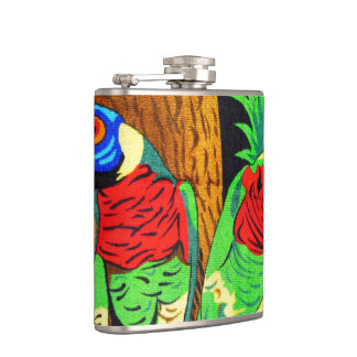 Pair of Colorful Parakeets Flasks