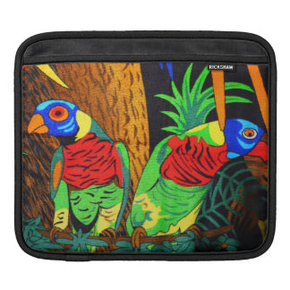 Pair of Colorful Parakeets iPad Sleeve