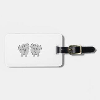 Pair of Cute Elephants. Luggage Tag