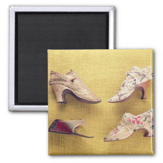Pair of embroidered shoes, c.1714 square magnet