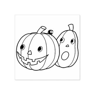 Pair of Halloween Pumpkins Rubber Stamp
