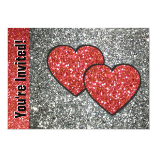 Pair of Hearts in Red Glitter 5x7 Paper Invitation Card