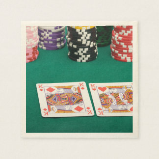 Pair of Kings on Card Table Disposable Napkins
