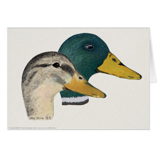 Pair of Mallard Ducks, Drake and Hen, Watercolor Card