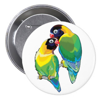 pair of masked lovebirds 7.5 cm round badge