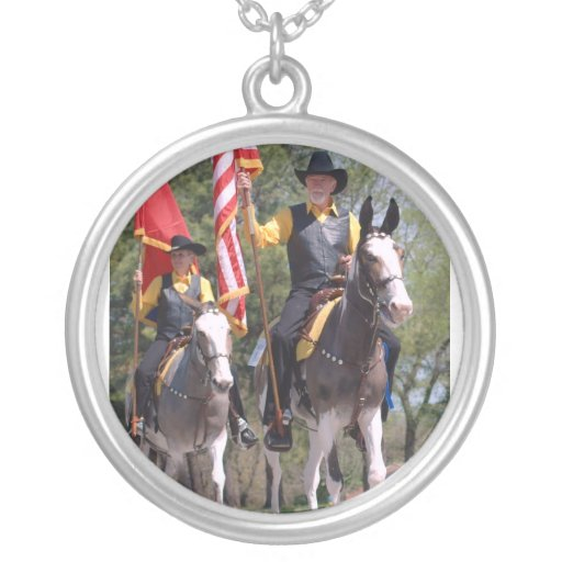 pair of mules in mule day parade personalized necklace