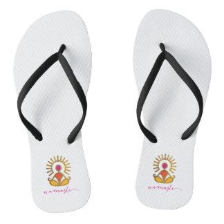 Pair of Namaste Golden Sun Pose Flip Flops